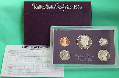 1986 S United States Mint Annual 5 Coin Proof Set Original Box & COA Complete