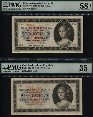 TT PK 67a 1945-48 CZECHOSLOVAKIA/REPUBLIC 100 KORUN PMG 58Q,35 SET OF TWO NOTES!
