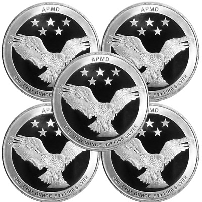 Lot of 5 - 1 Troy oz APMD .999 Fine Silver Round