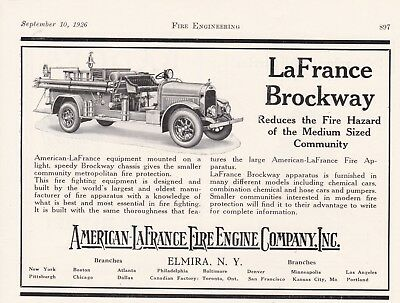 AMERICAN LaFRANCE BROCKWAY FIRE ENGINE  1926 AD               7233