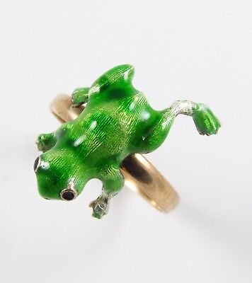 Antique 14k Yellow Gold Victorian Art Nouveau Green Enamel Frog Ring Size 6.75