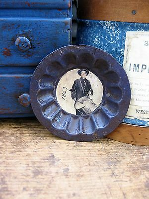Small Primitive Early Antique Tin Mold Quaker Blue Milk Paint Old Photo Print