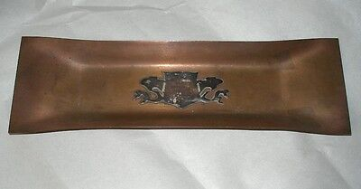Breathtaking ARTS CRAFTS Hand Crafted COPPER PEN TRAY Incredible DRAGON SHIELD