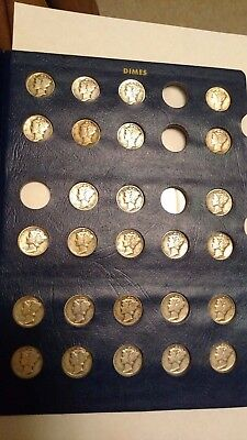 MERCURY DIME COLLECTION of 55 ALL DIFFERENT DIMES in Whitman Deluxe Album