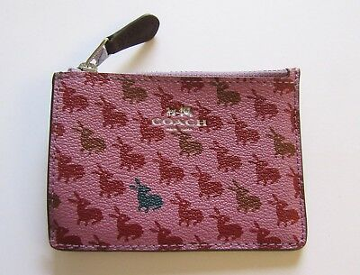 Coach Bunny Print Skinny Mini ID Coin Case pink red brown -attached key ring