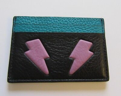 Coach Lightening Bolt Card Case- black purple turquoise- F11725
