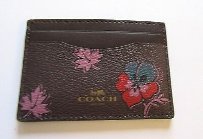 Coach Wildflower print Card Case- floral brown orange blue pink  flowers F12773