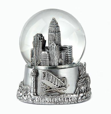 Charlotte North Carolina Silver Snowdome Snow Globe-New