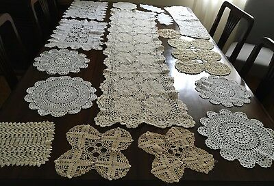 CROCHET Table Runner & 32 Assorted Doilies - Beaut Cond
