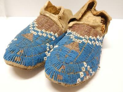Antique Cheyenne Plains Indian Sinew Beaded+Sewn Moccasins Adult Size Montana Nr