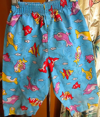 BOYS GIRLS sz 5t  5 True Vtg 80s Fish print Surfer Shorts