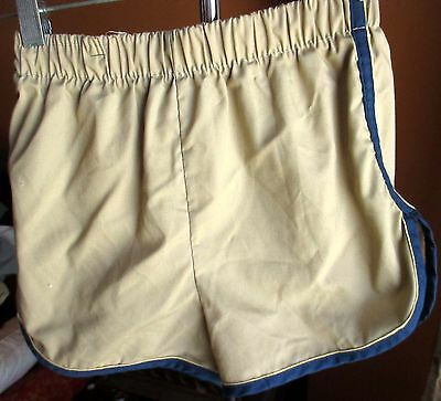 BOYS sz 14 Vintage 80s JC PENNEY SAND/Blue Piped Swim Trunks Shorts 1980s LARGE