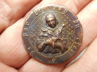 "Joan of Arc w/ Sword Antique Button 1-1/8"" By King of Heaven on Border"