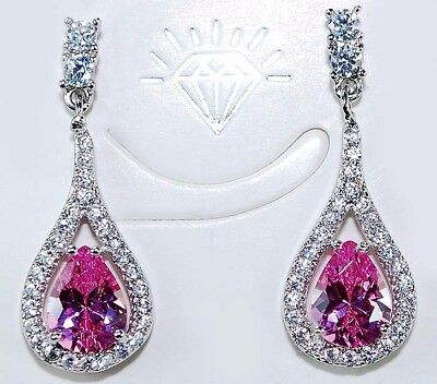 2CT Pink Sapphire & Topaz 925 Solid Sterling Silver Earrings Jewelry