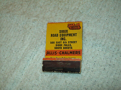 SD Allis Chalmers Crawler Tractor Empty Matchbook Sioux Road Equipment