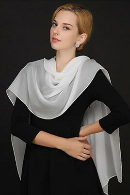 New Fashion Lady Girls white  Solid Long  Chiffon Scarf Wrap Shawl Stole Scarves