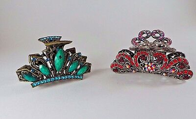 Vintage Rhinestone Metal Hair Clips Claw Style,  Red and Turquoise Colored (2)