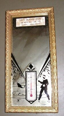 Pat's Pkg.Store- Greenfield, MA- Wood Framed Silhouette figure mirror-thermo
