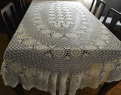 CROCHET Light Beige, Oval Tablecloth -200x295cm - Lovely Cond