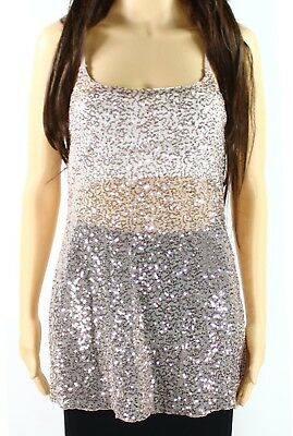 H.I.P. NEW Beige Nude Women's Size XS Sequin Embellish Mesh Cami Top $32 #414