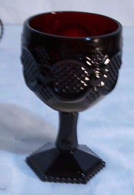"""AVON CAPE COD Goblet Ruby Red Pedestal WATER glass 6"""" tall VGC Vintage"""