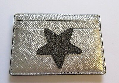 Coach Star Flat Card Case- silver and gray color- metallic F24184