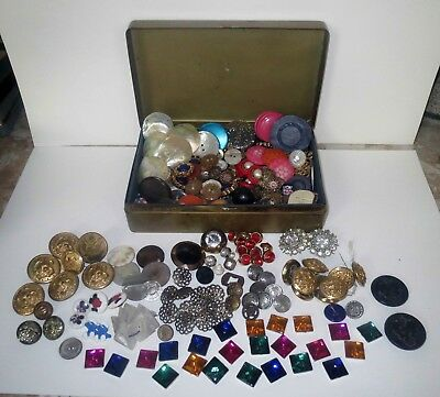 Huge Lot ANTIQUE BUTTONS & Cat Candy Tin - VICTORIAN MILITARY RHINESTONE & GLASS