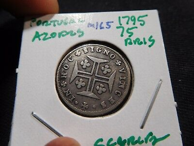 INV #M165 Portugal Azores 1795 75 Reis Scarce