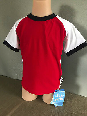 BNWT Boys Size 4 White Soda Brand Red/Navy/White Short Sleeve Rash Vest UPF 50+