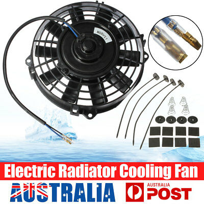 """7"""" Inch 12V Volt Electric Cooling Fan Thermo Fan & Mounting Kits Universal 80W"""