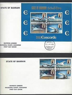 Bahrain 1970 Concorde set and miniature sheet on Flight first day covers