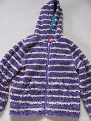 Girls Mini Boden cosy fleece zip up coat with hood age 9-10
