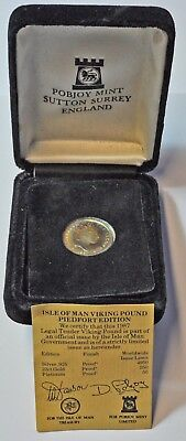 Isle Of Man Viking Pound, Piedfort Edition, 1987 Silver Proof Coin, Cased & Coa