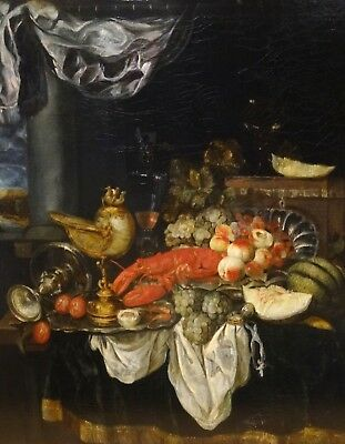 Fine Huge 19th Century French Still Life Lobster Fruit Silver Antique Painting