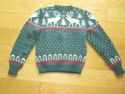 Vintage Handmade Homemade Hand Knitted Child's Reindeer Nordic Sweater Xs Woman