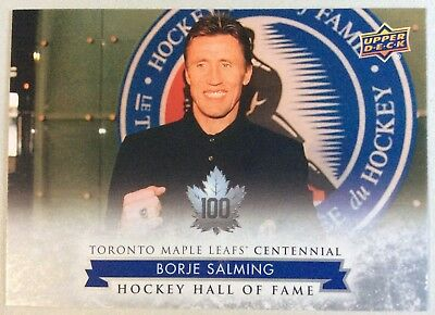 2017 Borje Salming Ud Toronto Maple Leafs Centennial Hockey Hall Of Fame Sp #165