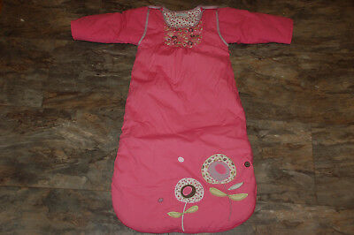 VERBAUDET PINK FLOWER SLEEPING BAG grobag, 6-18 months, tog 2, removeable sleeve
