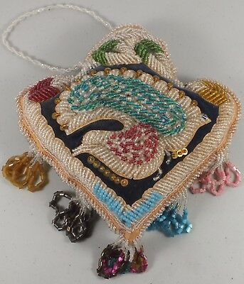 Fabulous Antique Native American Iroquois Hand Beaded Pillow With Peacock Bird