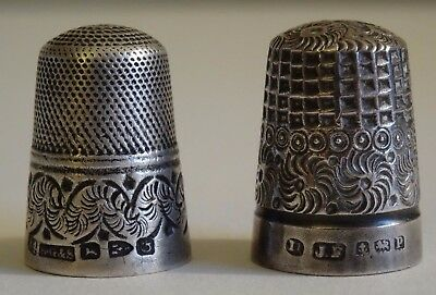 2 English Sterling Silver thimbles Henry Griffith & Sons James Fenton Birmingham