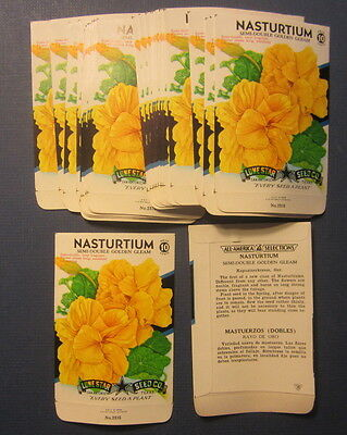 Wholesale Lot of 25 Old Vintage 1950's NASTURTIUM - Flower SEED PACKETS - EMPTY