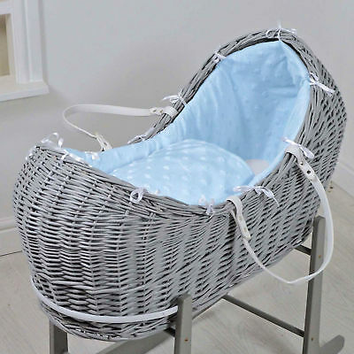 New 4Baby Grey Wicker / Blue Dimple Stars Padded Snooze Pod Baby Moses Basket