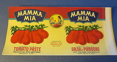 Lot of 5 Old Vintage - MAMMA MIA Tomato Paste Can LABELS - Italian Style