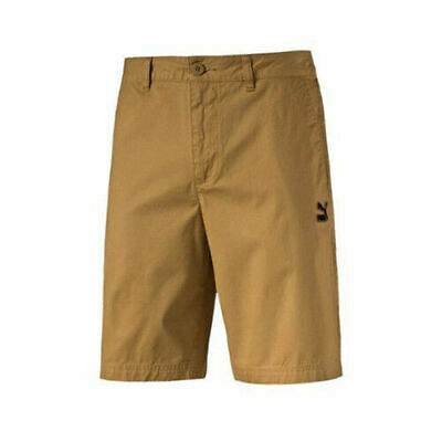 Puma Archive Mens Chino Shorts Regular Fit Yellow Beige 571171 26 EE107