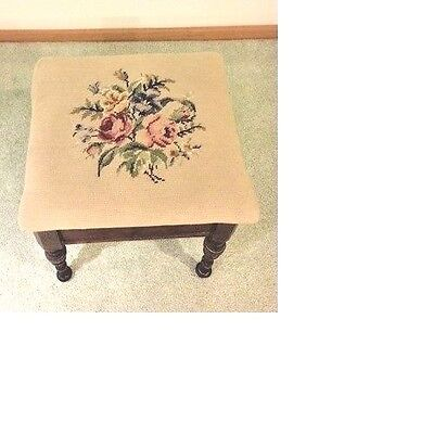 "Antique Roses Needlepoint Stool 15.5 x 15""  Turned Legs"