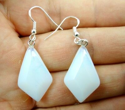 Beautiful hand-carved Pair Of diamond Opalite pendant silver Earrings A6