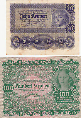 10&100 Kronen Vf-Aunc Banknotes From Austro-Hungary 1922 Pick-75-77