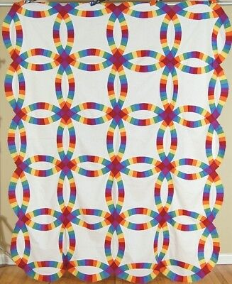 AMAZING Vintage 30's Double Wedding Ring Antique Quilt ~SOLID RAINBOW COLORS!
