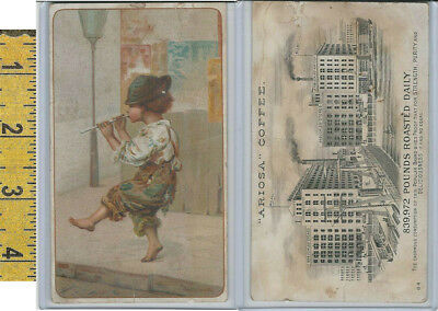 Victorian Card, 1890's, Ariosa Coffee, Arbuckle, Boy Playing Music