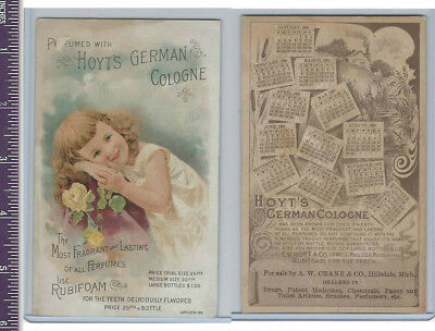 Victorian Card, 1890's, Hoyts German Cologne, Young Girl & Roses