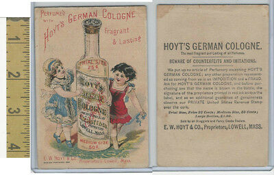 Victorian Card, 1890's, Hoyts German Cologne, Lowell MA, 2 Girls & Bottle (B)